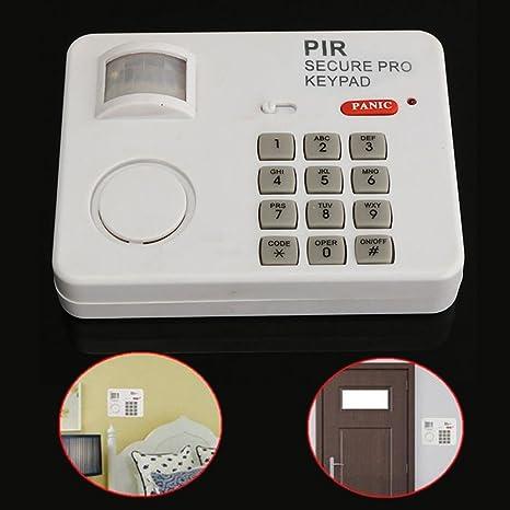 PIR - Detector de movimiento inalámbrico con sistema de alarma y alarma con teclado de seguridad para puerta de casa, garaje, cobertizo, blanco