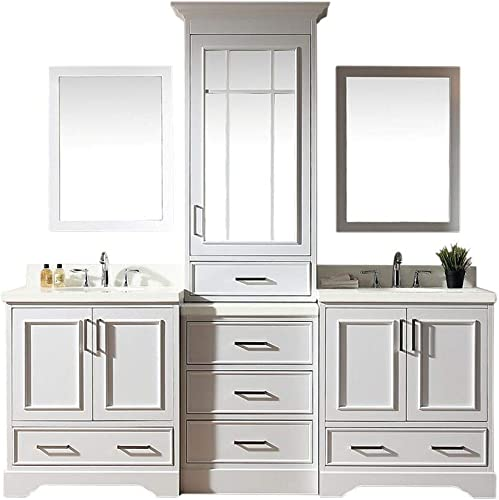 ARIEL Double Sink Bathroom Vanity Set in White Pure White Quartz Counter-top 5 Soft Closing Doors 6 Full Extension Dovetail Drawers 85 x 22 x 89 Inches