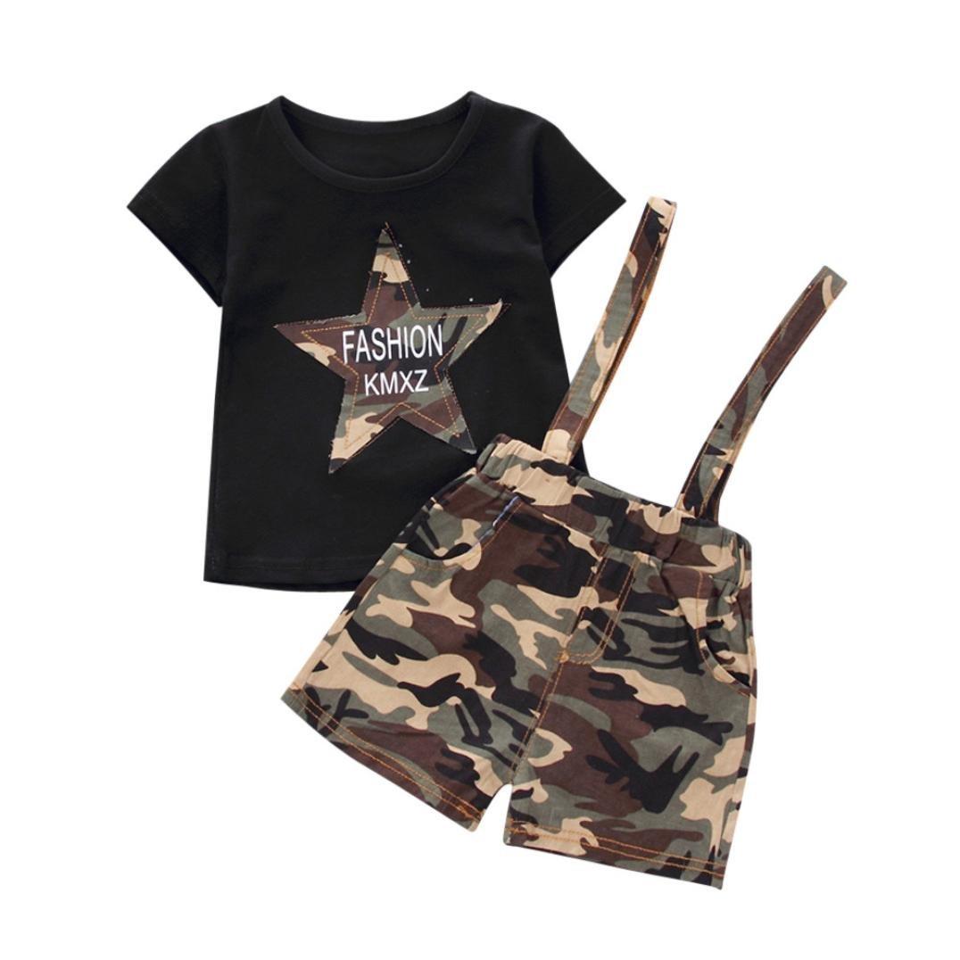 Beikoard Vendita Calda abbigliamento bambini 2 pezzi T-shirt neonato neonato da bambino Camouflage Tops + pantaloni bretelle Set Outfit