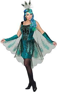 Extravagante disfraz de pavo real para mujeres / Turquesa-Negro en ...