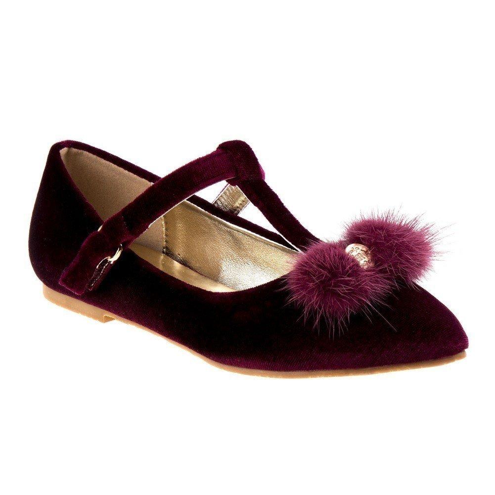 Nanette Lepore Girls Burgundy Velvet Faux Fur Bow T-Bar Dress Shoes 4 Kids