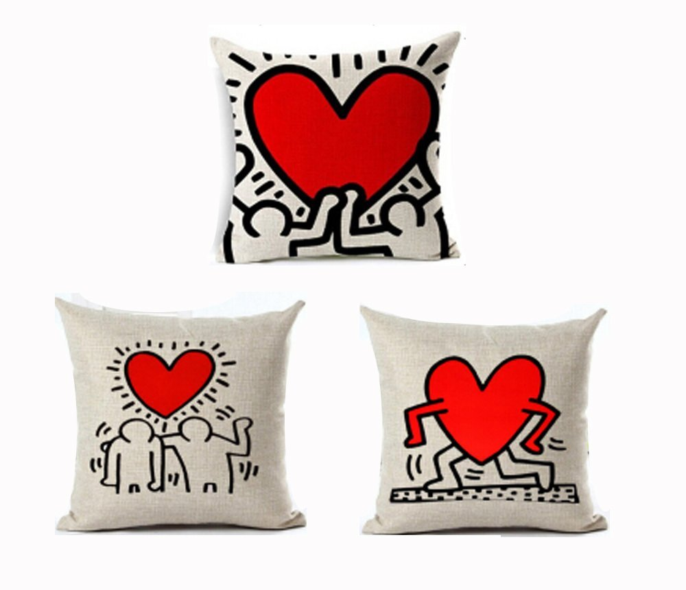 Keith Harings Graffiti Art Printing Style Cotton Linen Throw Pillow Case Cushion Cover Sofa Car Home Office Decorative Square 18 X 18 Inches Andreannie Andreannie 1737 Decorative Pillows Inserts Covers Home Kitchen