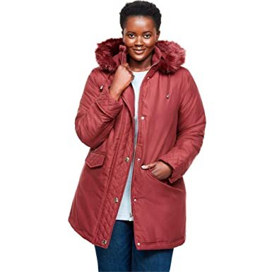 5528b4b932b Amazon.com  Woman Within Plus Size Short Microfiber Parka  Clothing