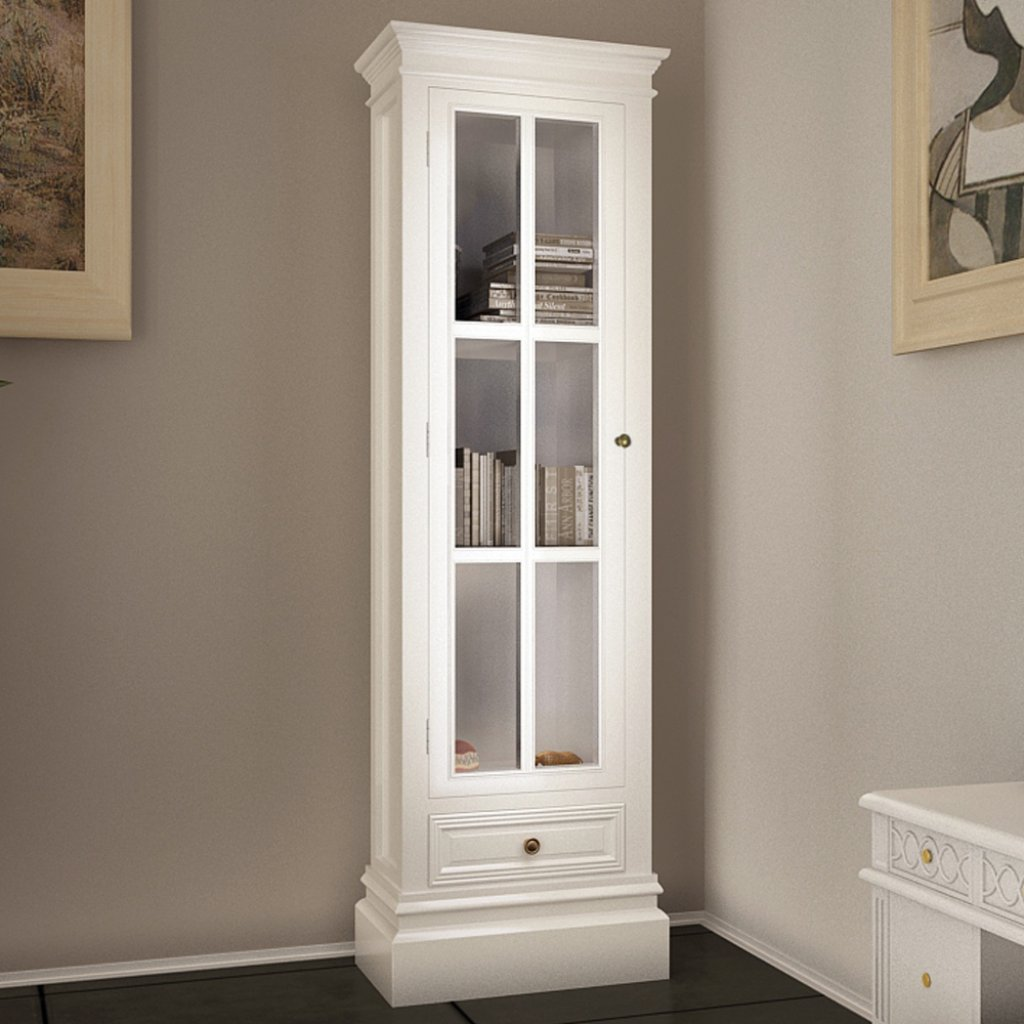 Anself White Bookcase Cabinet Wooden Shabby Chic Storge Cabinet 3 Shelves