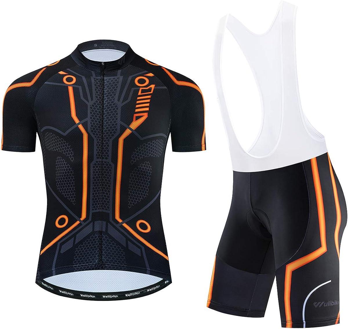 Men's Tron Cycling Jersey Set Bicycle Shirt and Bib Shorts Kit Sports Trisuit: Clothing