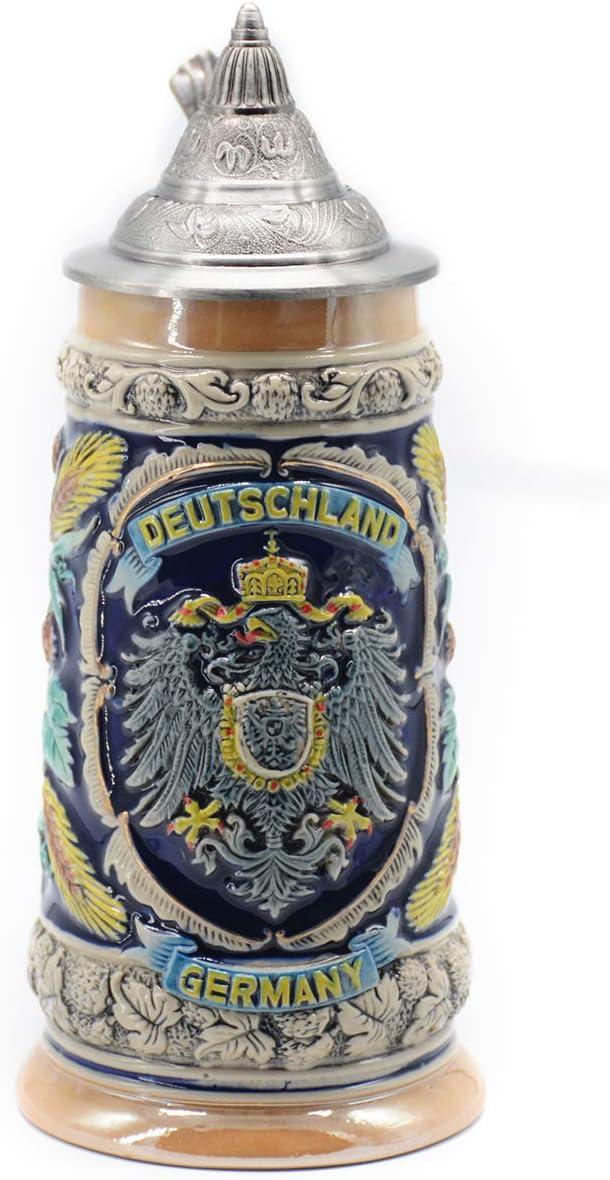 Jarra de Cerveza Alemana con Estaño Tapa Hecho a Mano Regalo Souvenir Relieve de Escudos de armas de Alemania Grabado Estándar de Seguridad Alimentaria Caja de Regalo 0.6 Litre