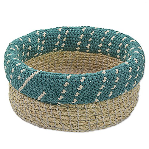 NOVICA Decorative Natural Fiber Basket, Beige and Turquoise Blue, Ixil Tradition in Teal'