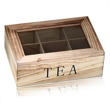 Caja madera de té bolsa de té Vintage Retro Shabby Chic Decoratión 15 diseños, modelo