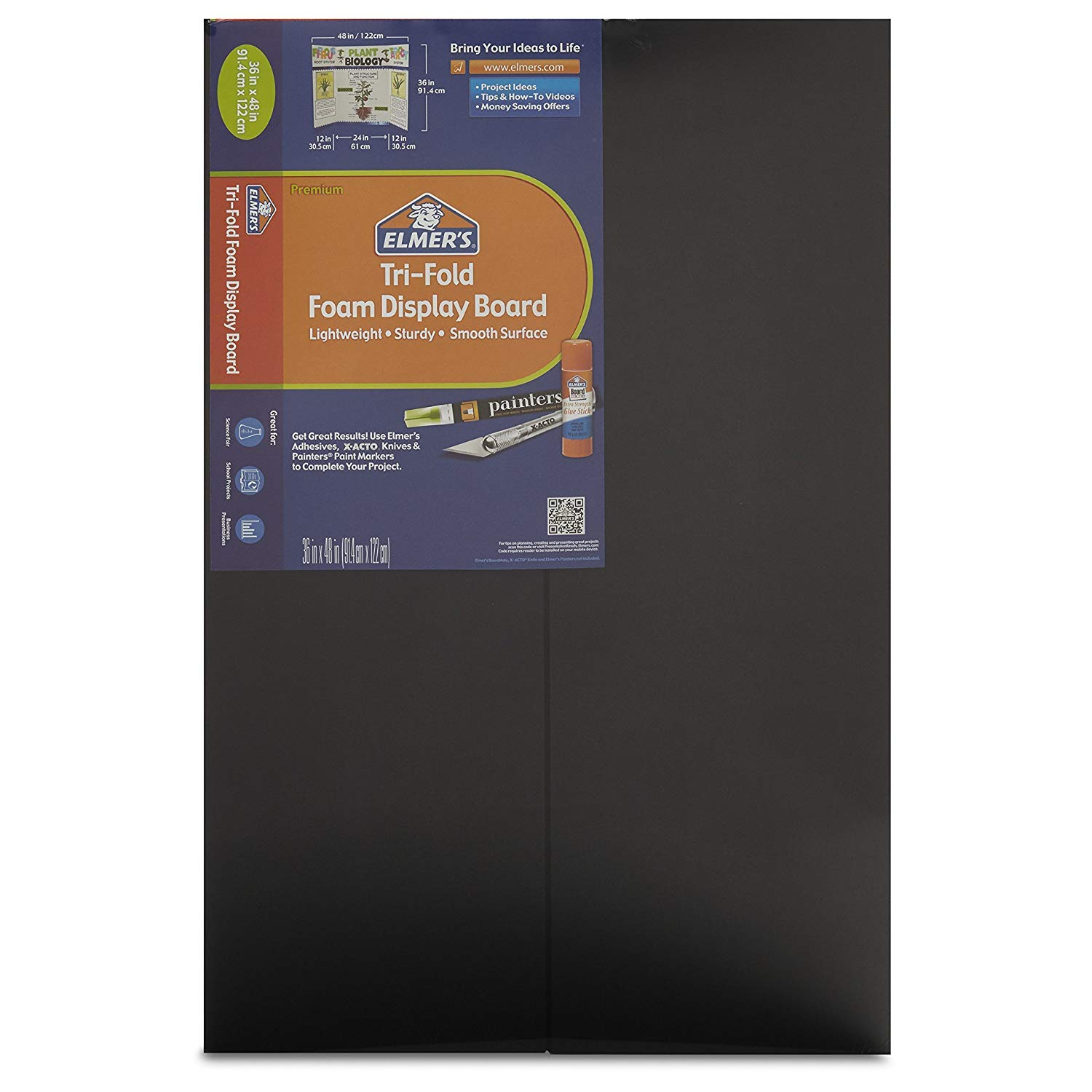 Elmer's Tri-Fold Foam Display Board, Black, 36x48 Inch, Pack of 12