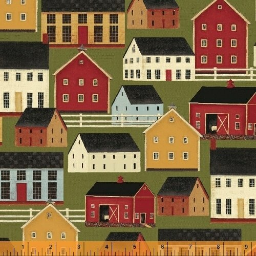 1/2 Yard - Farm Houses on Green Cotton Fabric - a Simple Life Series (Great for Quilting, Sewing, Craft Projects, Throw Pillows & More) 1/2 Yard X 44