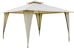 Outsunny 12' x 12' Outdoor Canopy Tent Party Gazebo with Double-Tier Roof, Steel Frame, Included Ground Stakes, Beige