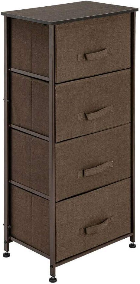 4-Drawers Modern Elegant Fabric Cabinet Bedside Table Storage Unit Metal Frame Organiser Chest Tall Slim Holder Display Living Room Furniture