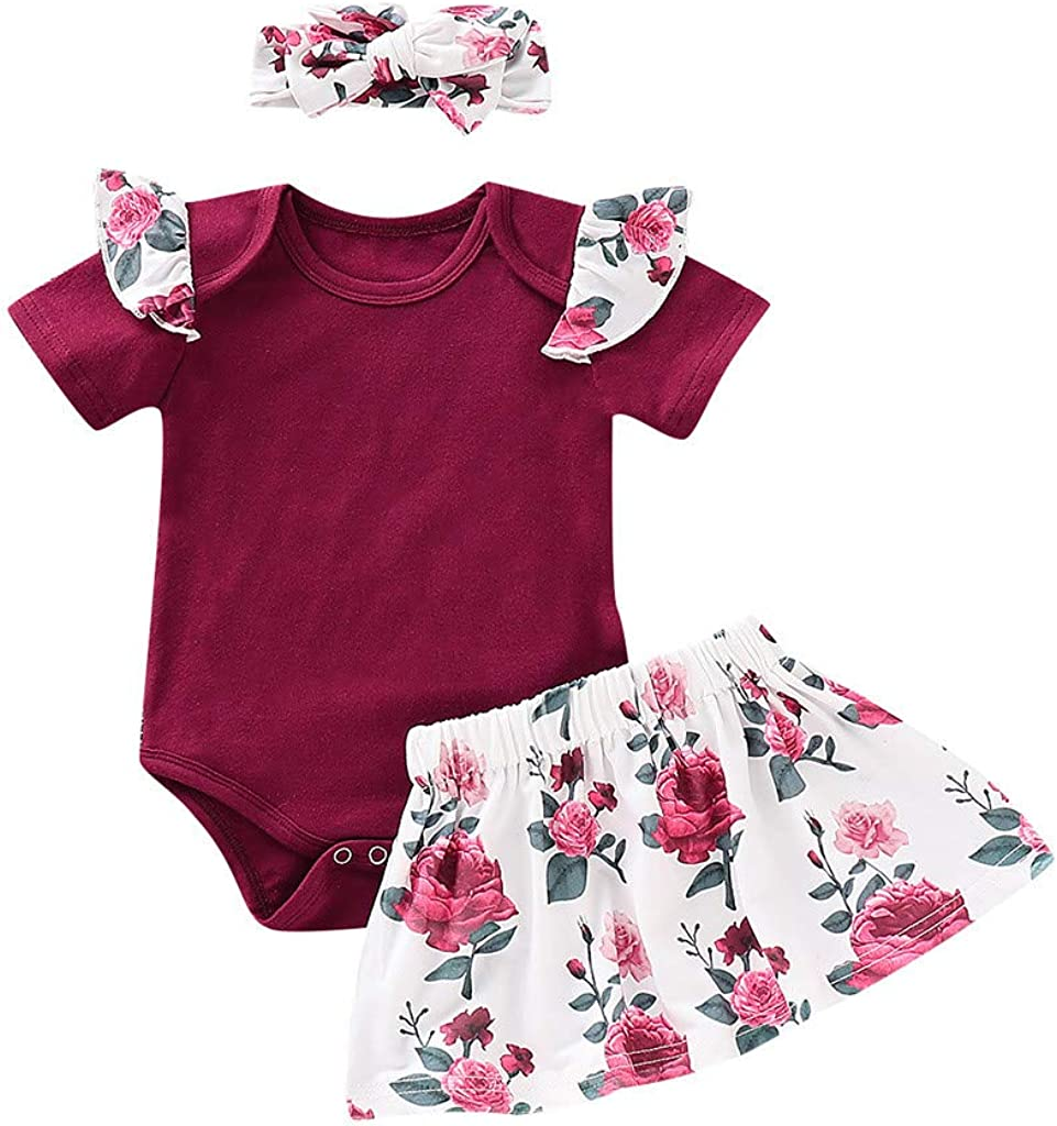 MORETIME 3PCS Infant Toddler Baby Girl Clothes Ruffle Romper 0-24 Months Bodysuit Floral Halen Pants Headband Outfits Onesies Jumpsuit Playsuit Clothes Outfit Short Sleeve Shorts Summer Sets