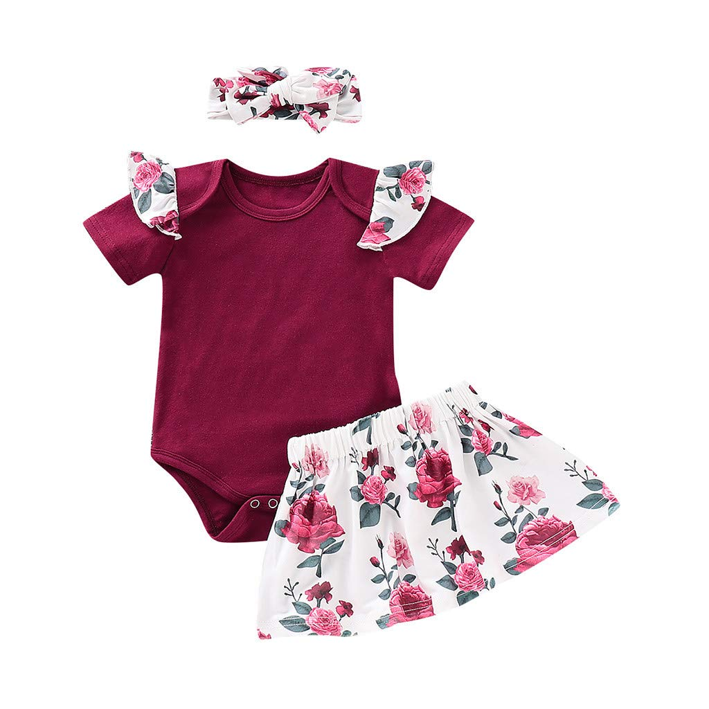 Dsood Lace Baby Romper,Infant Baby Girls Solid Jumpsuit Romper+Floral Print Skirts+Headbands Outfits,Baby Girls' Clothing Sets, 2019,Wine