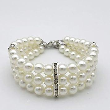 Amazon.com: petfavorites Fancy 3 fila perlas joyas con ...