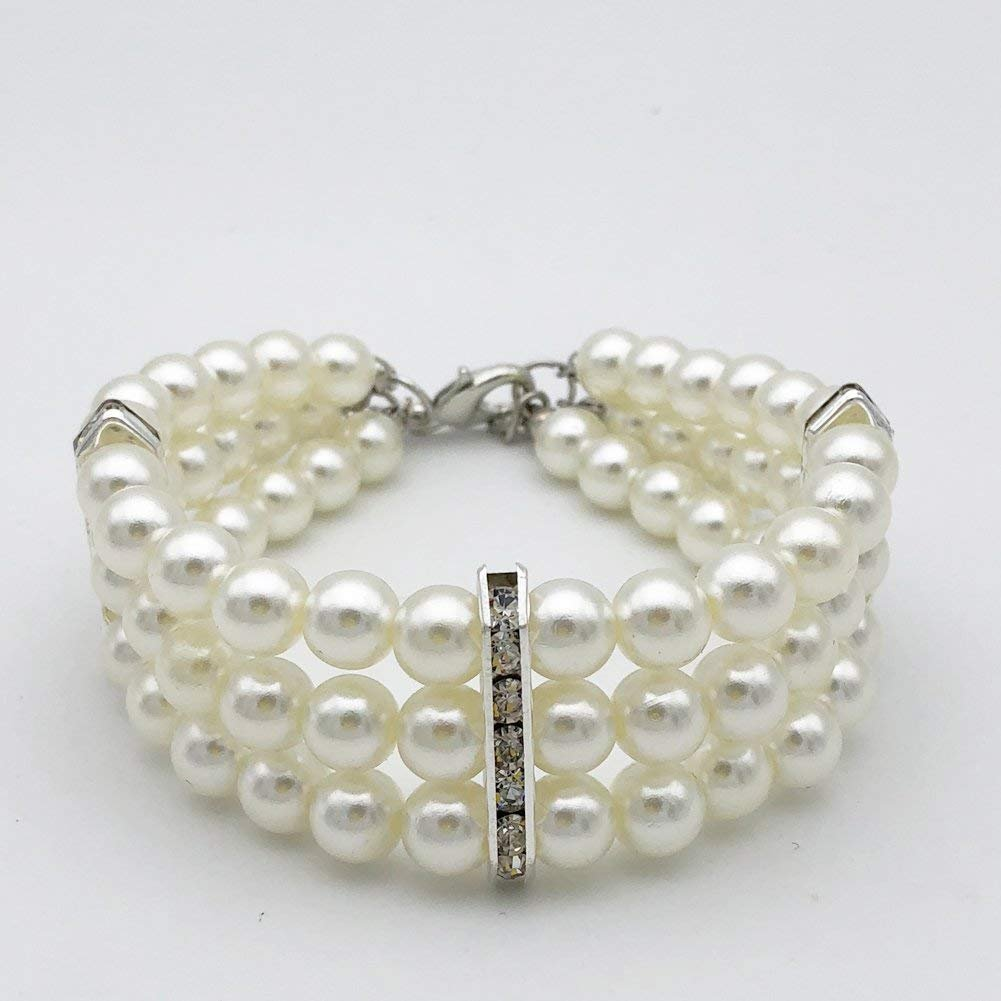 PetFavorites Fancy 3 Row Pearls Diamond Dog Necklace Collar Jewelry with Bling Rhinestones for Pets Cats Small Dogs Girl Teacup Chihuahua Yorkie Clothes Costume Outfits (White, Neck Size: 10''-12'')