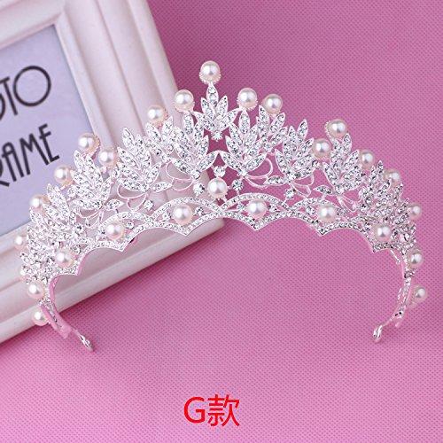 Quantity 1x bride luxury crystal _ice- crystal - Rhinestone ing Headband pearl Crown Tiara Party Wedding Headband Women Bridal Princess Birthday Girl Gift _ ()