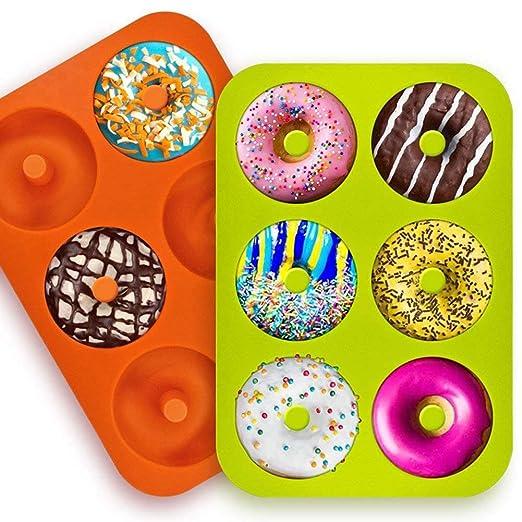 Molde para Donut de Silicona, Juego de 2 Molde Hornear Donut ...