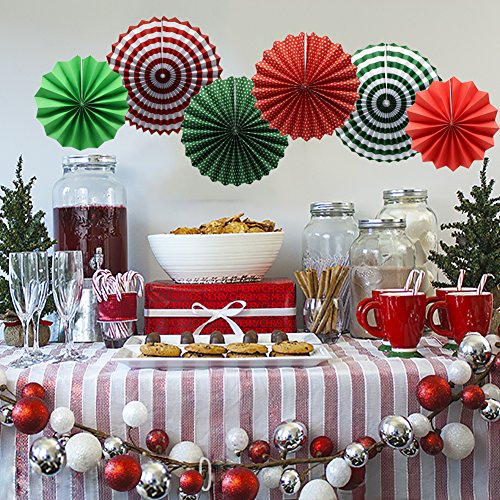 Easy Christmas Paper Decorations - Party Hanging Paper Fans Set, Round Pattern Paper Garlands Decoration for Party Birthday Christmas Events Accessories, Set of 6(Green, Red and White)