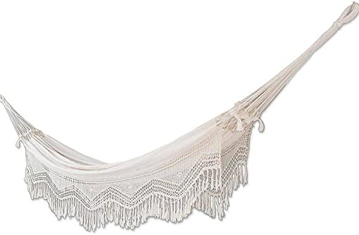 NOVICA Natural White Ecru Cotton 2 Person Hand Woven XL Brazilian Hammock