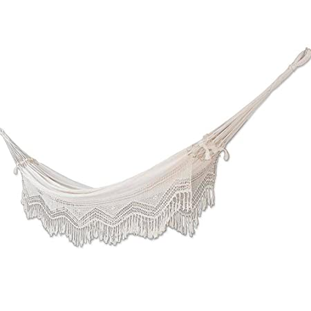 NOVICA Natural White Ecru Cotton 2 Person Hand Woven XL Brazilian Hammock with Handmade Crochet Fringe, Manaus Majesty double