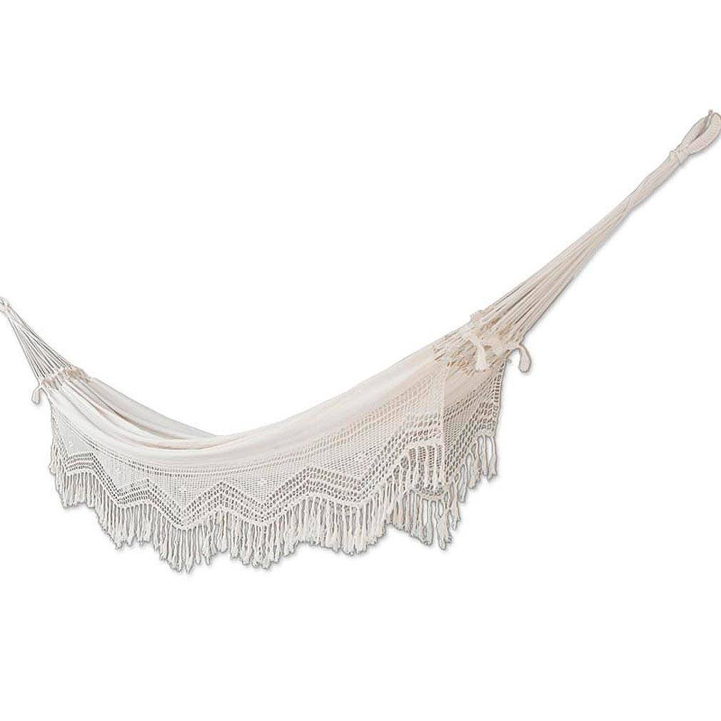 NOVICA Natural White Ecru Cotton 2 Person Hand Woven XL Brazilian Hammock with Handmade Crochet Fringe, Manaus Majesty' (double)