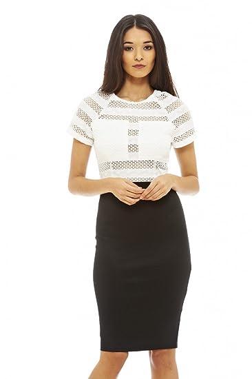 AXE Paris pour femme Noir en maille Top 2 en 1 Robe Glamour élégante Mode - 50c37b6bffa
