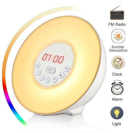 Luces-despertador, Wake Up Light, Sunrise Reloj despertador con Snooze radio FM 7