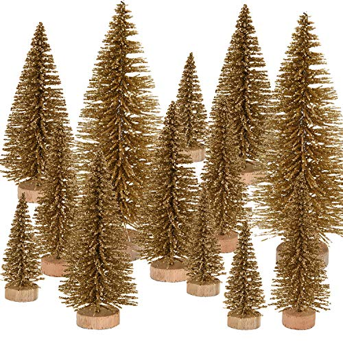 Pangda 42 Pieces Mini Christmas Tree Artificial Sisal Tabletop Sisal with Wood Base for Christmas Decoration, 4 Sizes (Gold) ()