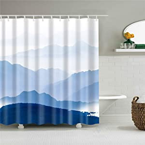 Bartori Shower Curtain with Hooks Inside Overlook The Blue Mountain in The Foggy Chinese Style Landscape Painting Background The Waterproof Polyester Fabric Bath Curtain 71''X71'' …