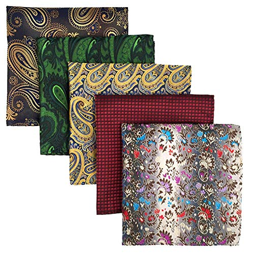 Shlax&Wing 5 Pieces Assorted Mens Silk Pocket Square Handkerchiefs Set
