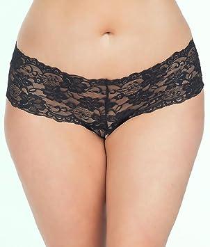 86de24127c2a Oh La La Cheri Curves Plus Size Floral Lace Crotchless French Knickers