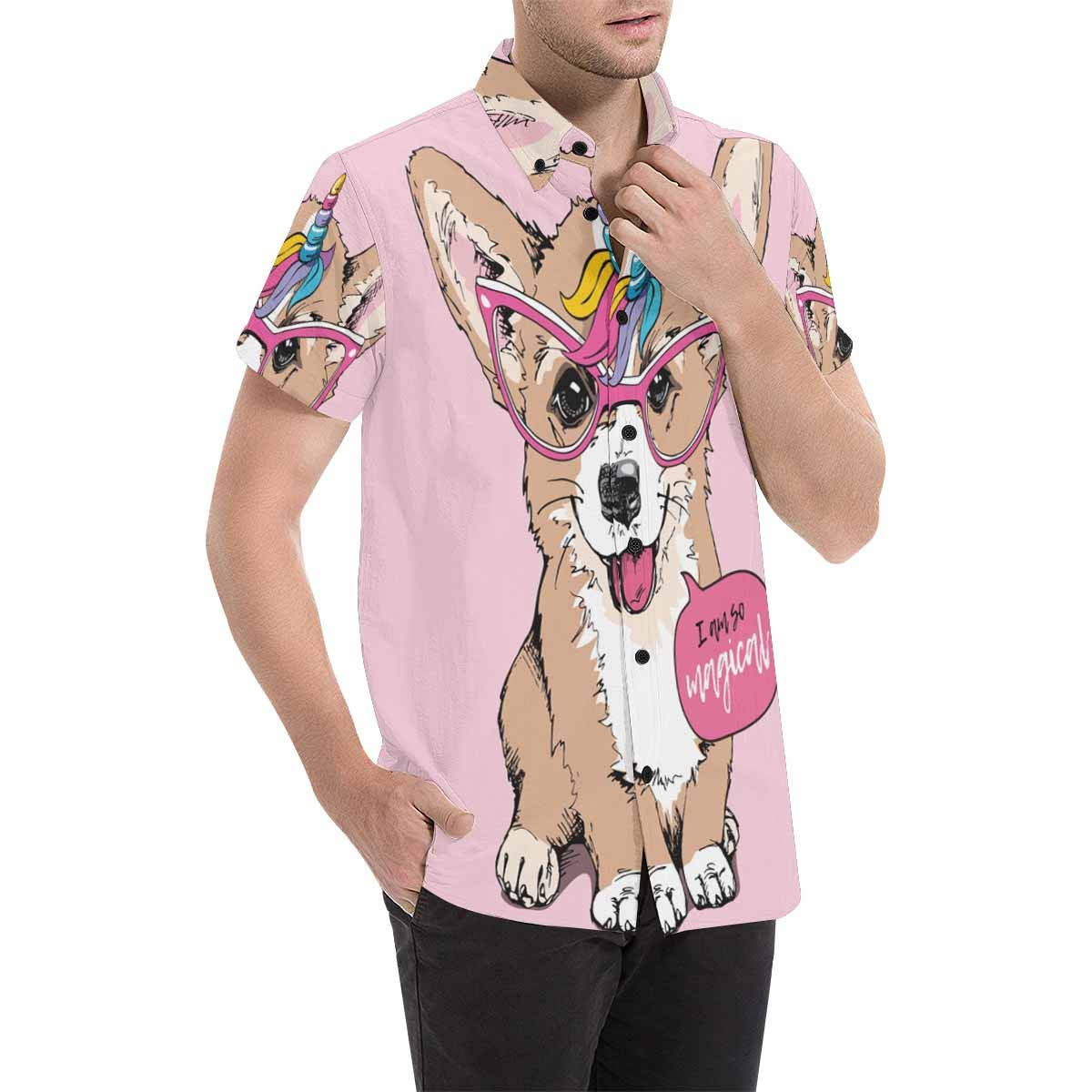 InterestPrint Puppy in Glasses with Unicorn Horn Button Front Summer Printed Shirt for Men