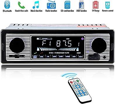Herchr Retro Fashion Bluetooth Vintage Autoradio Mp3 Player Stereo Usb Aux Classic Car Stereo Audio Auto