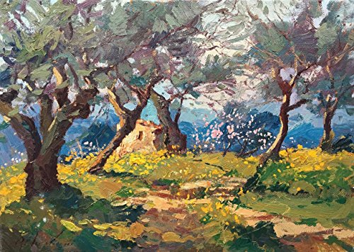 - Original Tuscan Country Landscape - Impressionist Hand Painted Field - Framed Canvas Wall Art - Unique Gift for Men Woman - Home Decor for Living Room - Agostino Veroni ()