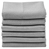 Sinland Microfiber Towel Sliver Cleaning Stainless Steel Polishing Cloths Window Glass Cleaning Cloths Grey 16Inch x 16Inch 6-Pack