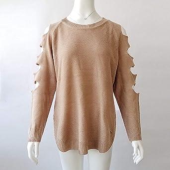 BaZhaHei-Jersey Suéter de Manga Larga con Cuello Redondo Corto de Punto Largo para Mujer Punto Redondo para Mujer de Manga Larga Hueco Suelto suéter Jerséy ...