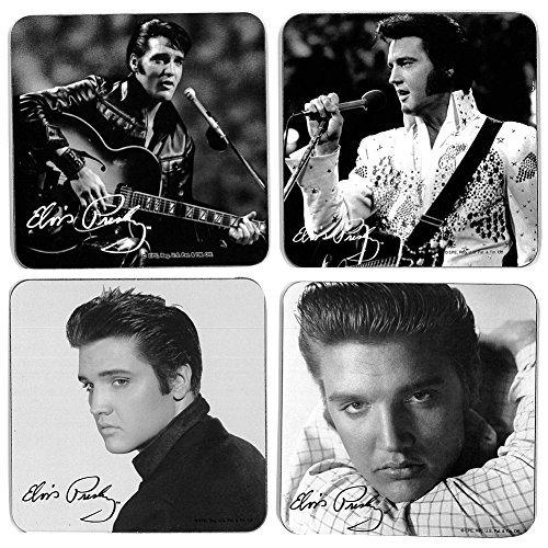 ((Set/4) Charming Vintage Black And White Elvis Presley Portraits Coasters)