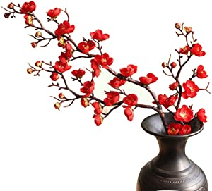 """FightingFly 4Pcs Artificial Cherry Blossom Flowers, 37"""" Plum Blossom Peach Branches Silk Tall Fake Flower Arrangements for Home Wedding Centerpieces Decoration, Red"""