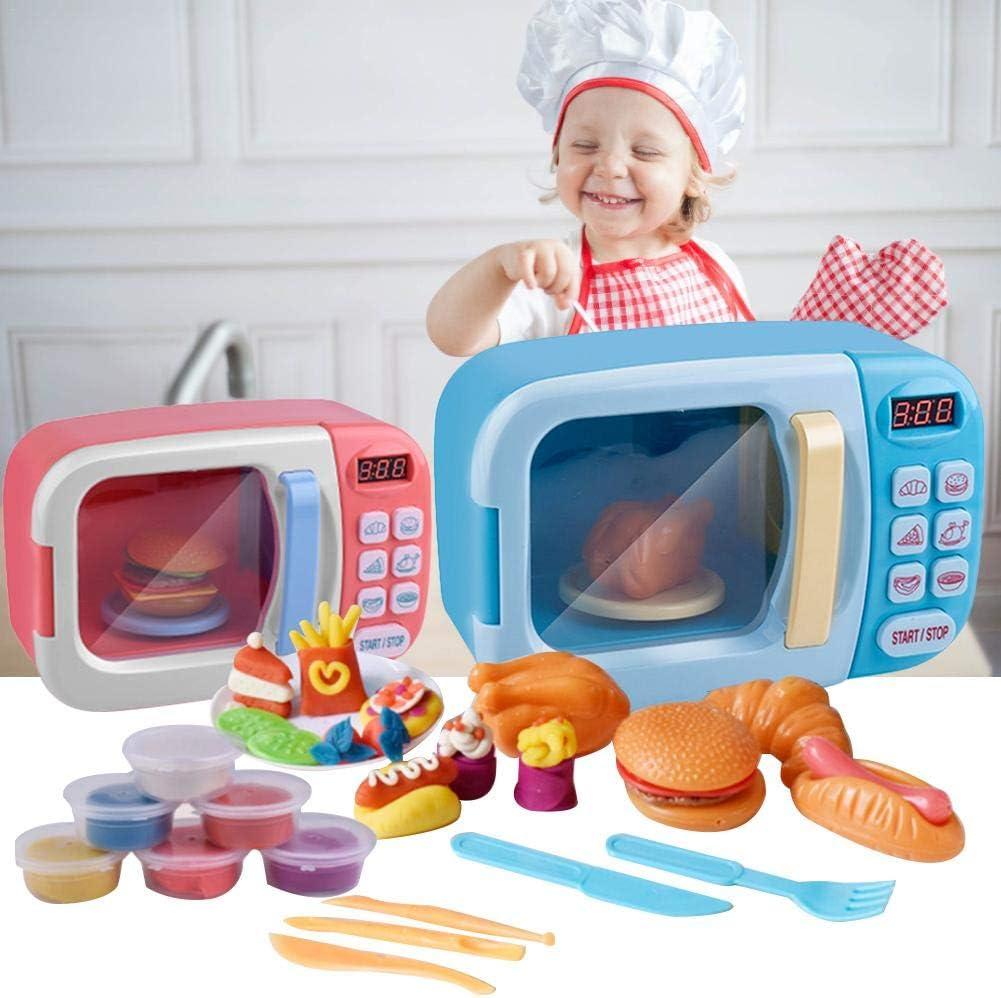 Juguete de microondas con luz de sonido para ni/ños Cocina realista fingir Juego Set con 6 platos de arcilla de color de bricolaje y realistas de comida de pl/ástico para hogar Juguete para Ni/ño Ni/ña