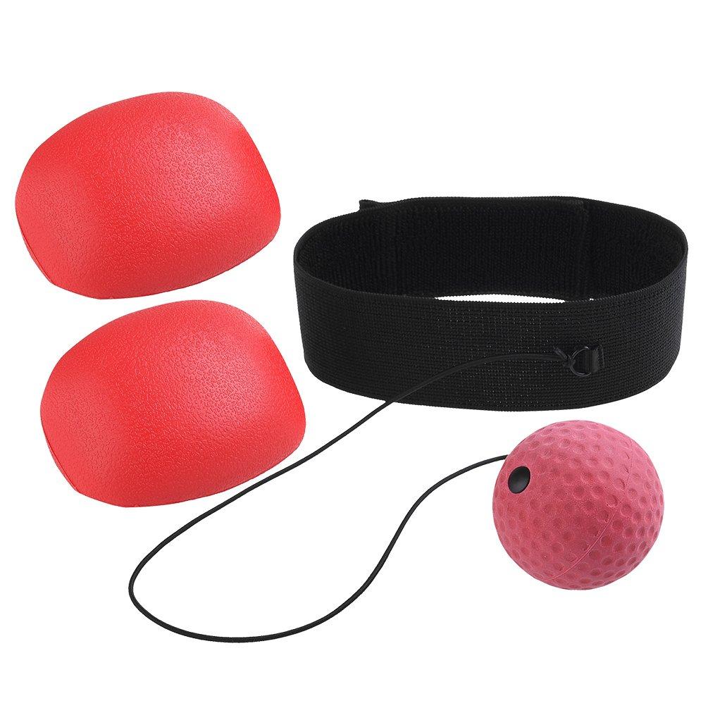 RUNACC Reflex de boxe Balle Gants de balles de vitesse de réaction de pratique Portable Practise Punch Boule avec bandeau et gants, convient pour la boxe, DE Poinçonnage et de formation Speed, Rouge