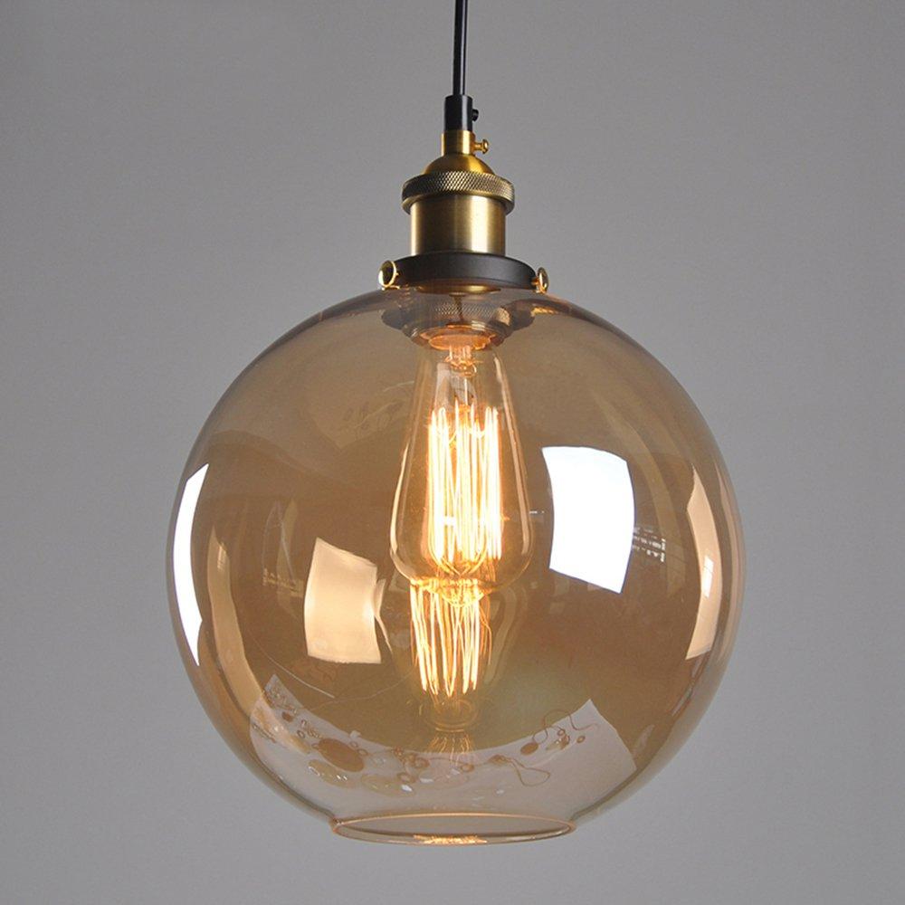 MZStech Retro Classic Glaskugel Pendelleuchte Pendelleuchte Pendelleuchte mit Bronze Halter Sockel E27 Birne (Grau) 6434b3