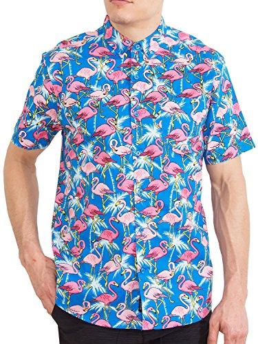 Visive Mens Hawaiian Flamingo Shirt Short Sleeve Button Up Tropical Shirts Pink - Sleeve Short Top Mens Woven