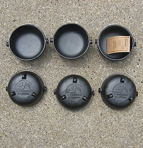 Old Mountain Single Serve Cast Iron Kettle with Handle - Preseasoned Set of 6