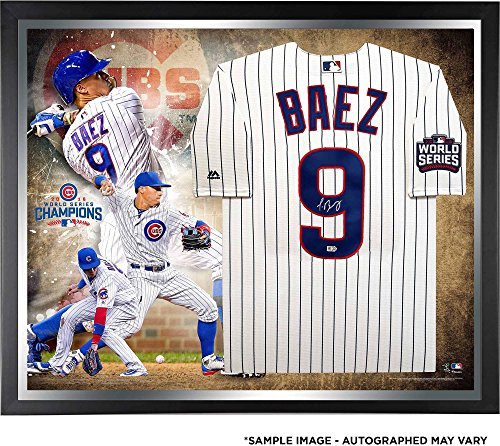 Javier Baez Chicago Cubs 2016 MLB World Series Champions Framed Autographed Majestic White Replica World Series Jersey Collage - Fanatics Authentic Certified Chicago Cubs Autographed Majestic Jersey