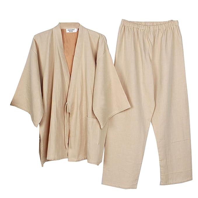 Fancy Pumpkin Trajes de Estilo japonés de los Hombres Pijamas de Kimono de algodón Puro Suelto