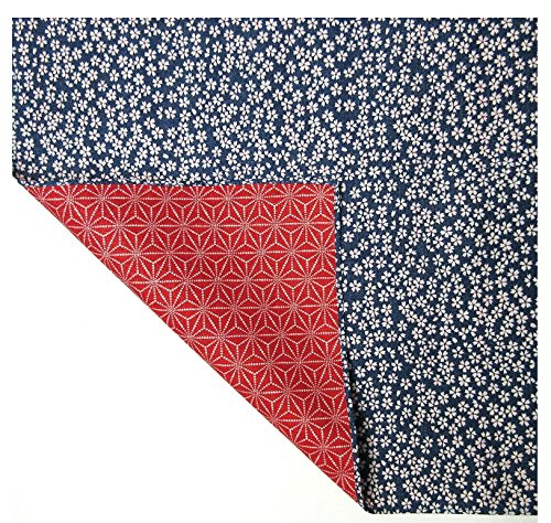 FUROSHIKI- Wrapping Cloth / Reversible [Cotton] (Sakura x Flax ornament: Blue/Red)