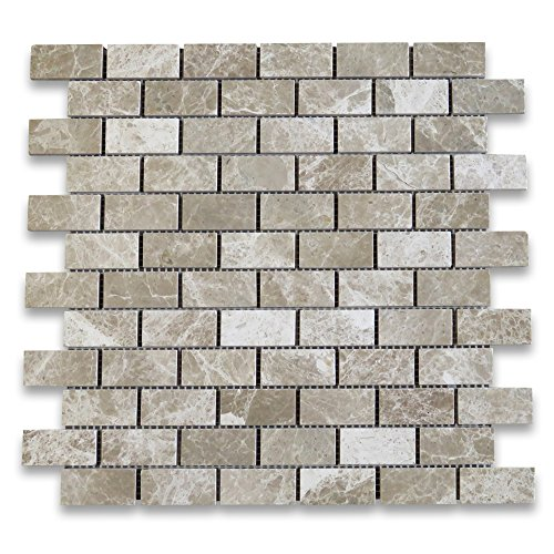 Emperador Light Marble Subway Brick Mosaic Tile 1 x 2 Polished