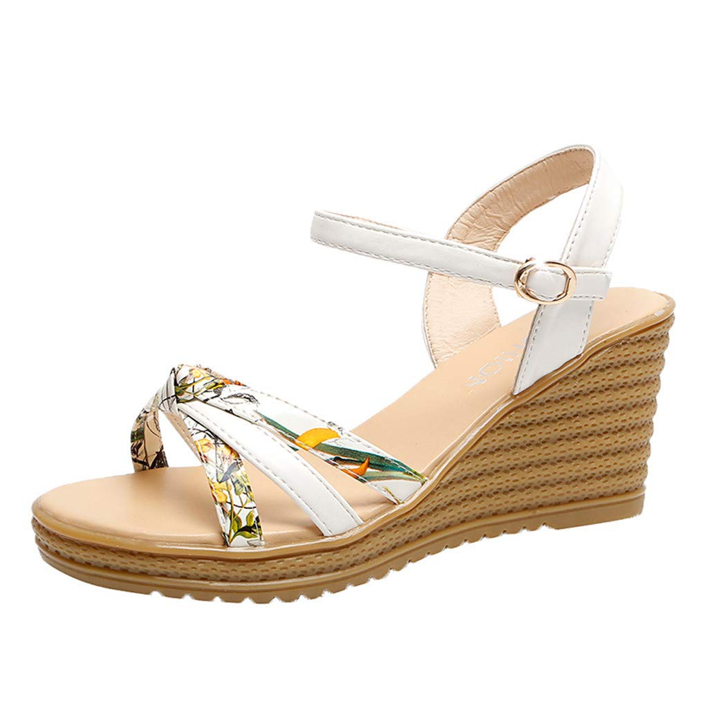 Women's Casual Fashion Wedge with Waterproof Platform Open Toe Buckle with Floral Sandals Outdoor Sandals White