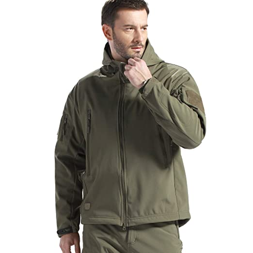 FREE SOLDIER Men's Jackets Outdoor Waterproof Softshell Hooded Tactical  Jacket